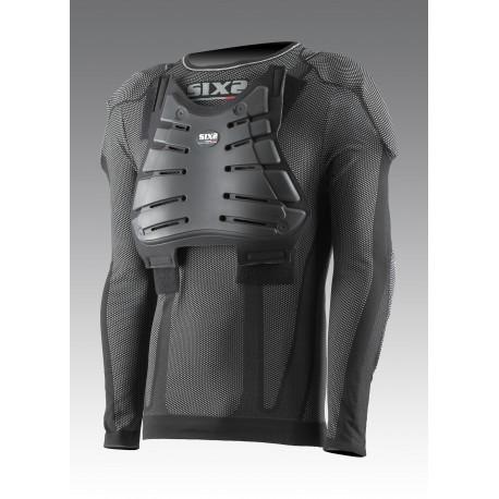 Girocollo protettivo maniche corte Kids Carbon Underwear con paraschiena, pettorina, paraspalle e paragomiti